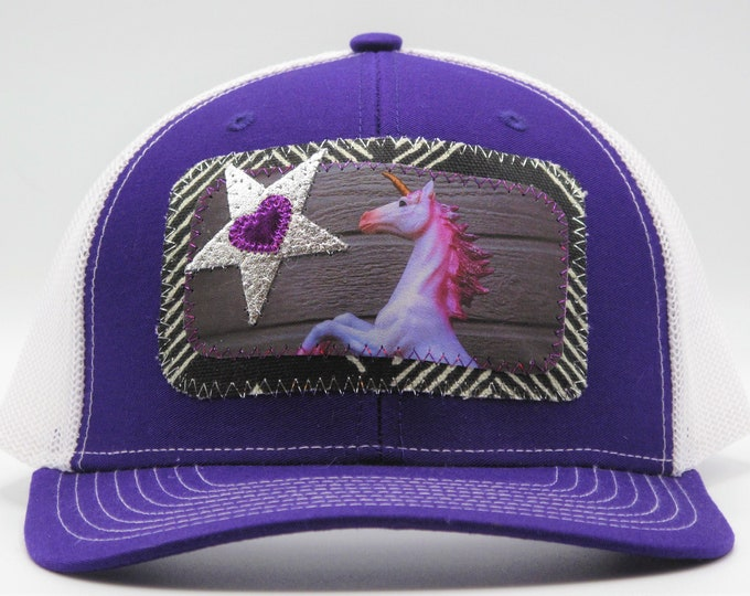 Unicorn Trucker Hat/ Baseball Hat in Purple