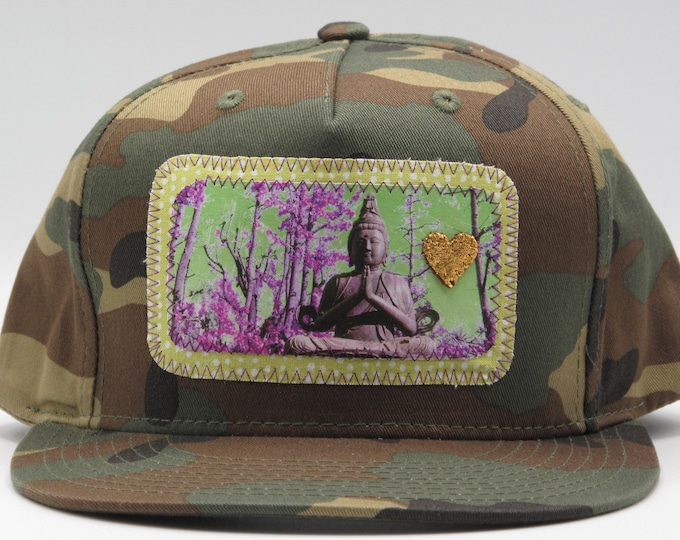 Buddha of the Forest Camouflage Flat Bill Trucker Hat