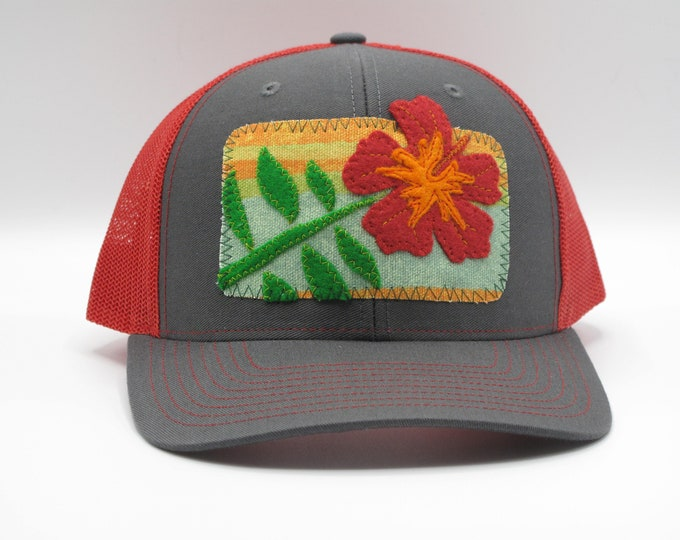 Trucker Hat/Baseball Hat - Red Hibiscus Flower
