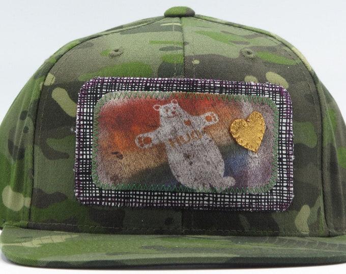 Camouflage Huggy Bear Flat Bill Hat