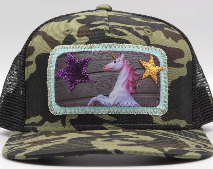 Magical Unicorn Camouflage Flat Bill Trucker Hat