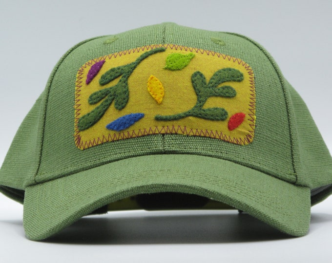 Spring Leaves Green Hemp Baseball Hat