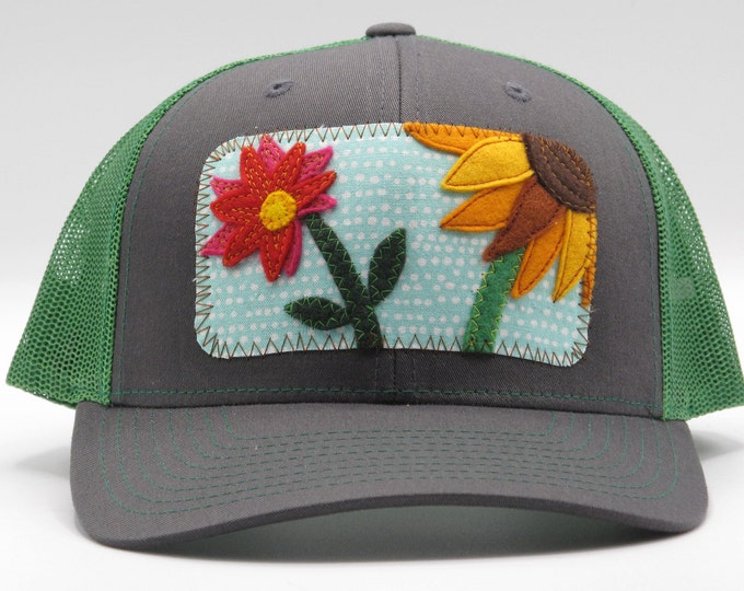 Flower Garden Green Baseball Hat / Trucker Hat