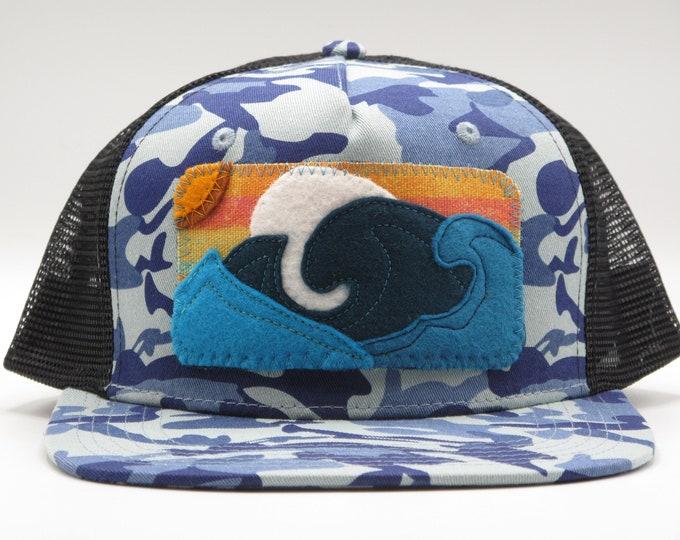 Big Blue Wave Flat Bill Trucker Hat