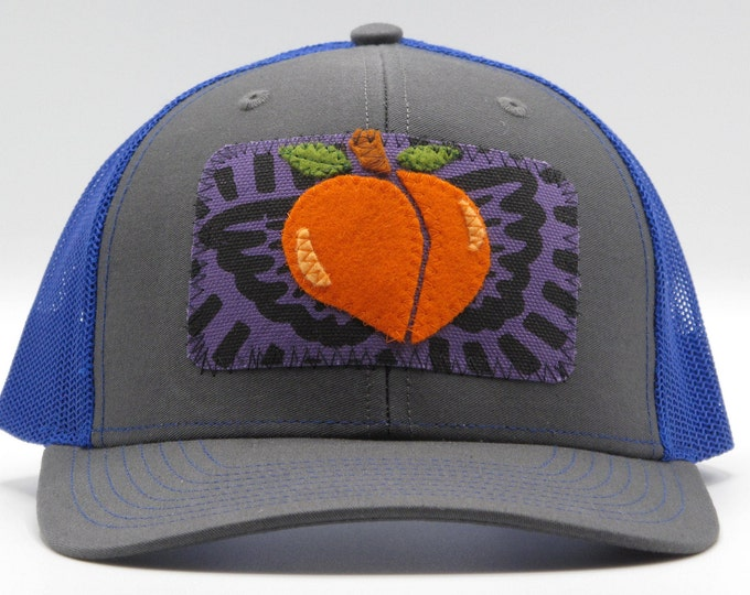 Life is Peachy Bright Blue Baseball Hat / Trucker Hat