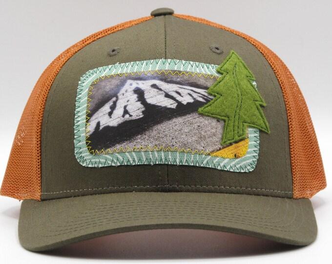 Mt. Hood Graffiti Orange & Brown Baseball Hat / Trucker Hat