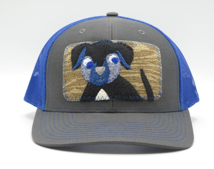 Black Dog, Blue Baseball Hat/Trucker Hat - a great gift men and women dog lovers.