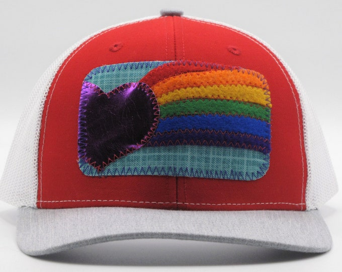Rainbow Heart Red Trucker/Baseball Hat