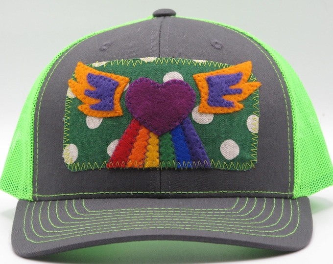 Neon Green Heart Baseball Hat / Trucker Hat