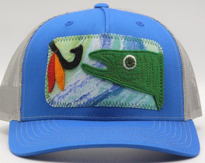 "Bright Blue ""Hook That Fish"" Baseball Hat / Trucker Hat"