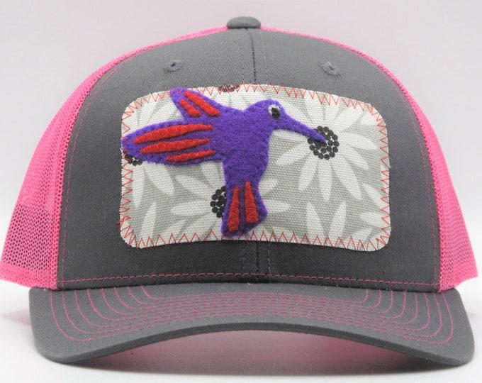 Hummingbird Trucker Hat/Baseball Cap - Pink