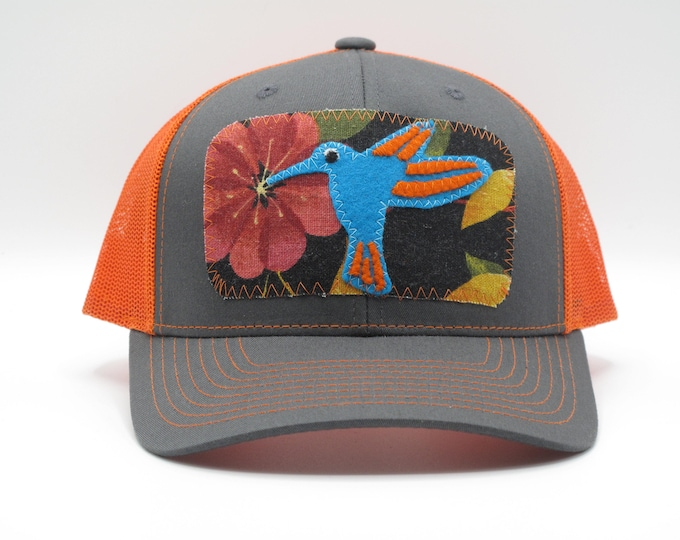 Hummingbird Trucker/Baseball Hat in Orange