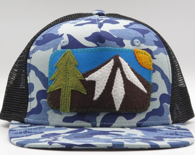 Blue Camo Mountain Flat Bill Hat