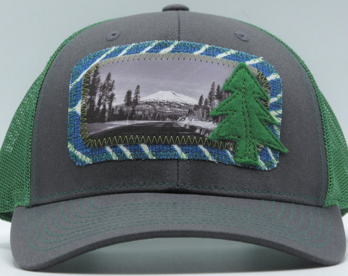 The Road to Mt. Bachelor is Green Baseball Hat/Trucker Hat