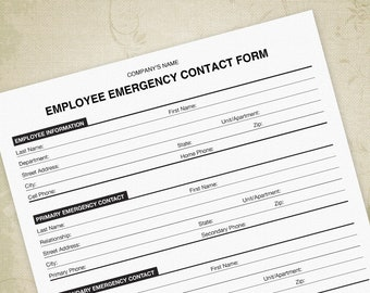 Emergency Contact Printable Form Employee Information Company Phone List Editable Custom Template Digital File Instant Download
