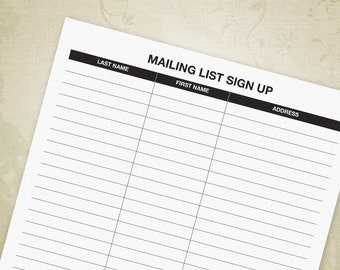 email sign up sheet basic address tracker printable for etsy