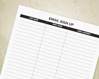 newsletter sign up printable form email list sheet customer etsy