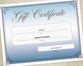 Blue Gift Certificate Pri...