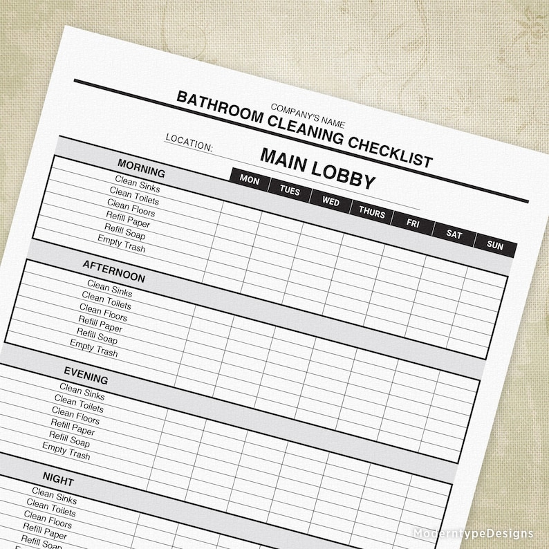 image relating to Printable Bathroom Cleaning Checklist titled Toilet Cleansing List Printable Type, Restroom Refreshing Program, Editable Tailor made Template, Electronic Record, Prompt Obtain, ccl002