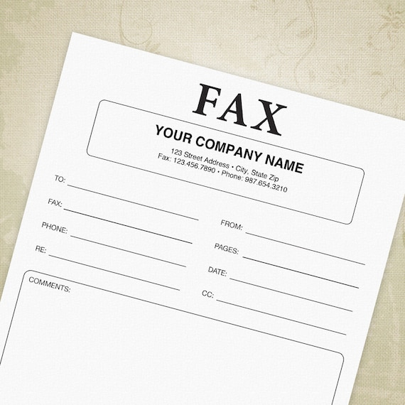 fax cover sheet printable form facsimile cover sheet etsy