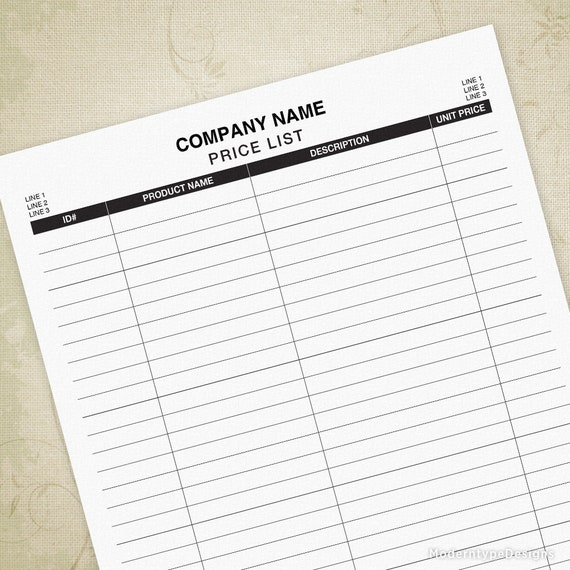 Price List Printable Form with Editable Inventory List | Etsy