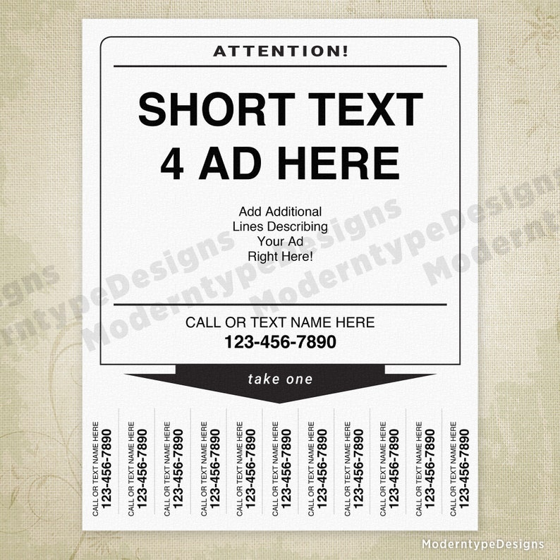 Digital File Instant Download For Rent or Sale Ad Printable Flyer Sign with Tear Off Tabs tof001 Editable Fields Wanted Poster