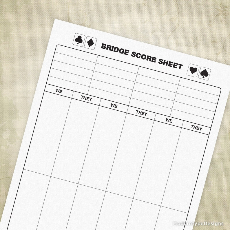 photo relating to Printable Bridge Score Sheets known as Bridge Sport Rating Sheets, Printable, Electronic Obtain, gam005