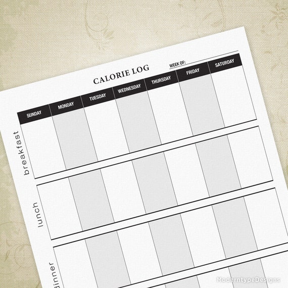 calorie log printable form fitness tracker daily calorie etsy