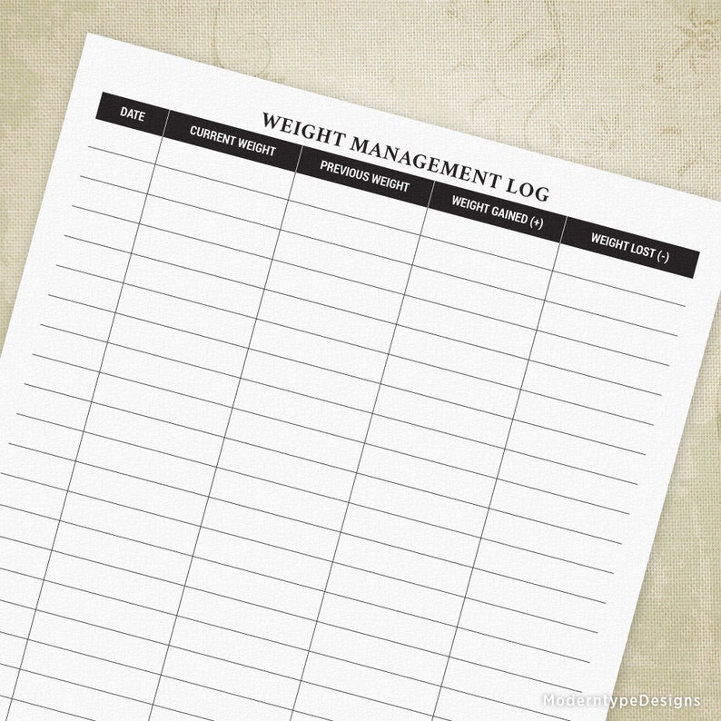 Weight Management Printable Log Form, Weight Loss Tracker, Health,  Wellness, Workout Planner, Journal, Diary, Digital File, wml001