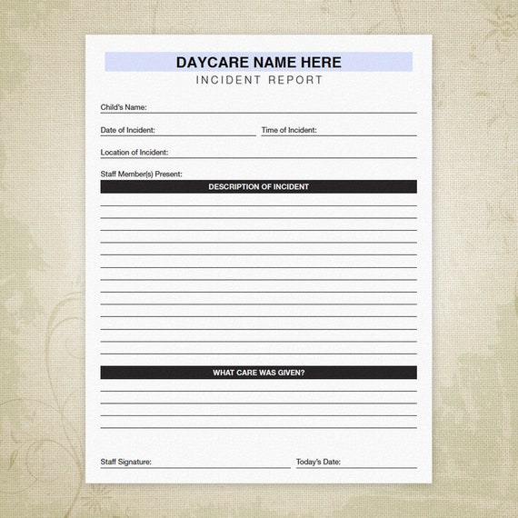 Incident Report Printable Daycare Form Child Accident
