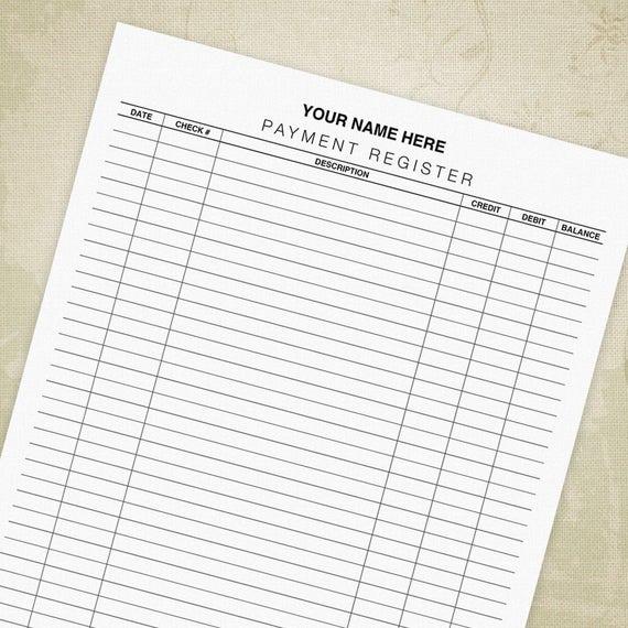 payment register printable form checkbook tracker ledger etsy