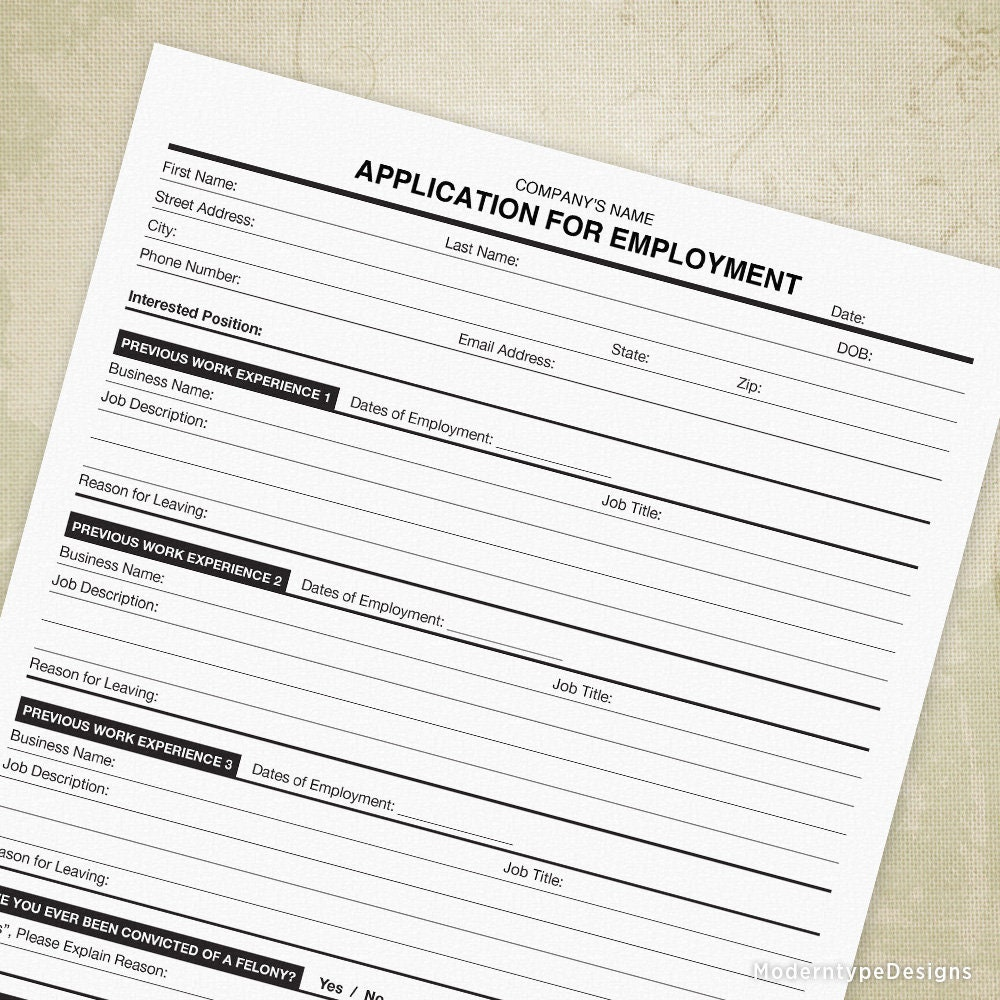 Application for Employment Printable Now Hiring Form Job | Etsy