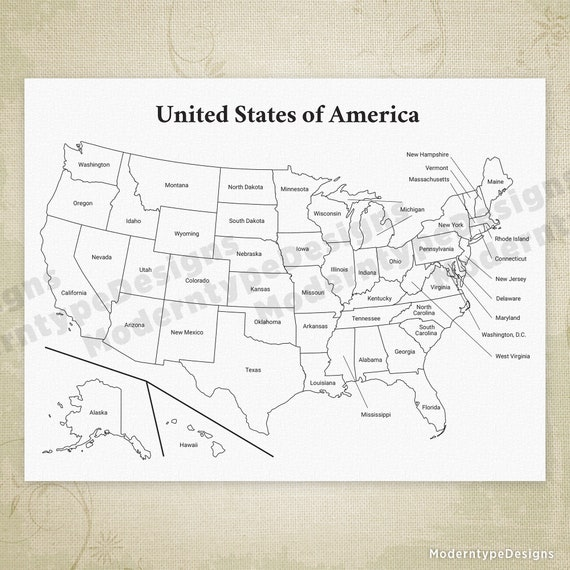 USA Printable Map, United States of America Map, Cha Ching Map, States and  Capitals, USA Drawing, Digital File, Instant Download, map001