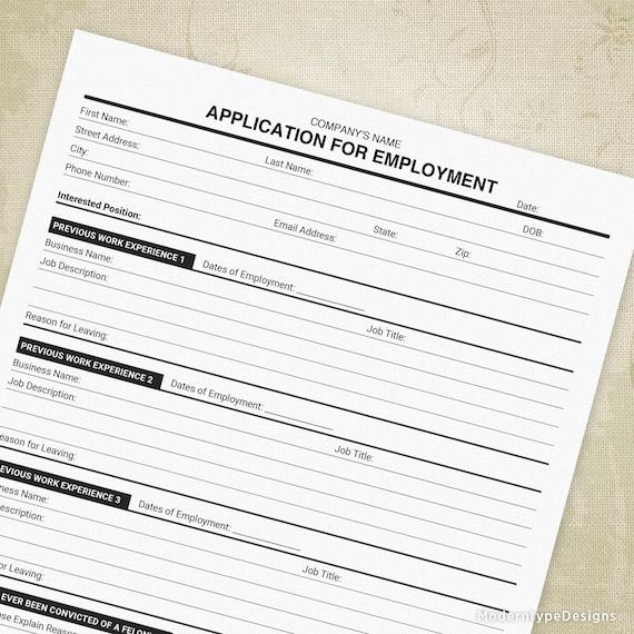 Application For Employment Printable Now Hiring Form Job Application Custom Editable Title Digital File Instant Download App001