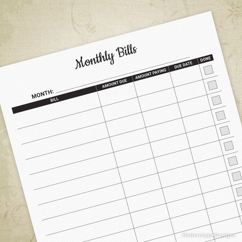 image about Printable Monthly Bill Organizer Download identified as Regular monthly Monthly bill Tracker Printable Sheet, Monitor Price range, Charges Style, Invoice Planner, Invoice Organizer, Electronic Record, Fast Down load, mbt001