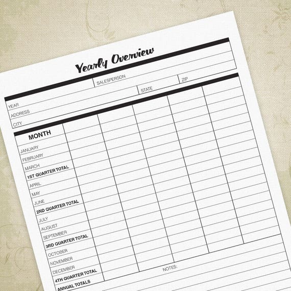 yearly expense report printable form financial overview etsy