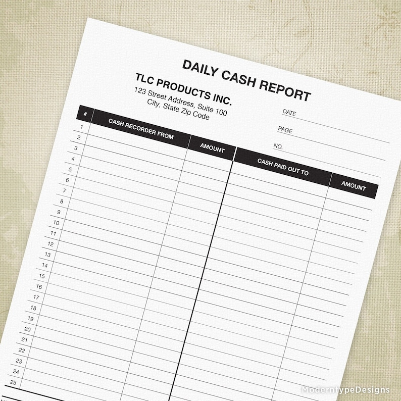 Daily Cash Report Printable Form, Inflow, Outflow, Cash In of Money  Transactions, Editable, Digital File, Instant Download, dar001
