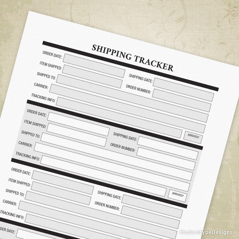 Shipping Tracker Log Printable Form, Package Tracker, Shipping Form, Track  Your Order, Shipping Log, Digital File, Instant Download, stf001