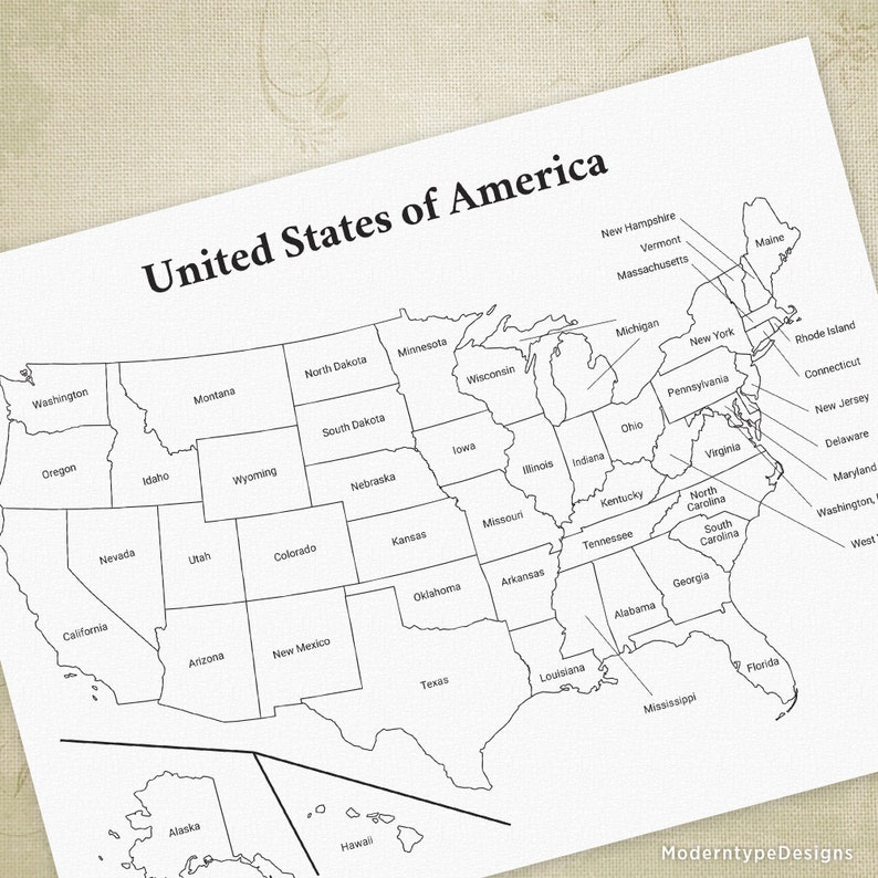 Map Of United States Printable.Usa Printable Map United States Of America Map Cha Ching Map States And Capitals Usa Drawing Digital File Instant Download Map001