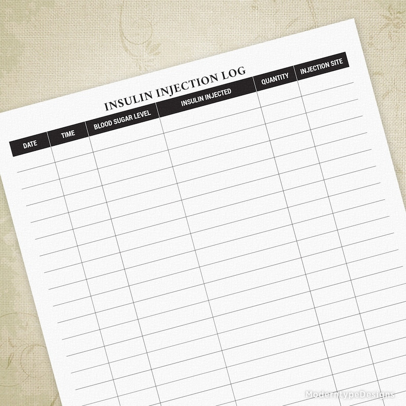 picture regarding Diabetic Logs Printable identified as Insulin Injection Log Printable for Diabetics, Glucose Tracker, Diabetic issues, Blood Sugar Degrees, Diary, Electronic Report, Prompt Obtain, iil001
