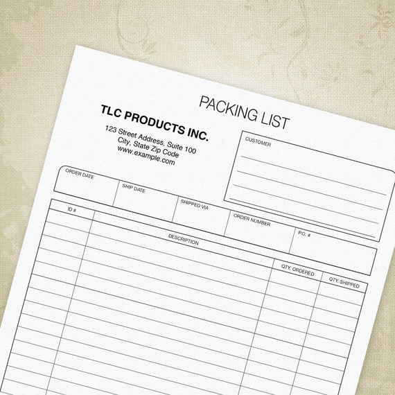 packing slip printable form professional packing list etsy