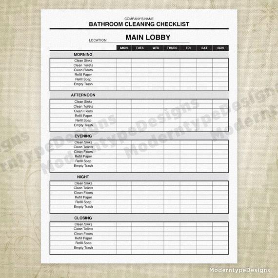 Bathroom Cleaning Checklist Printable Form Restroom Clean Etsy