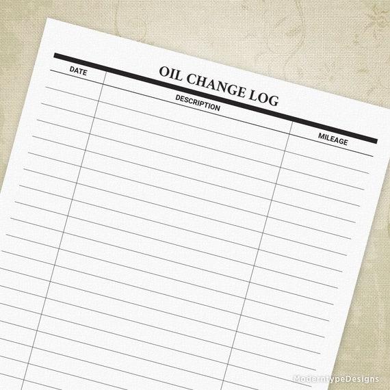 Oil Change Log Printable Form Car Maintenance Tracker Mower Truck Engine Planner Digital File Instant Download Aut001