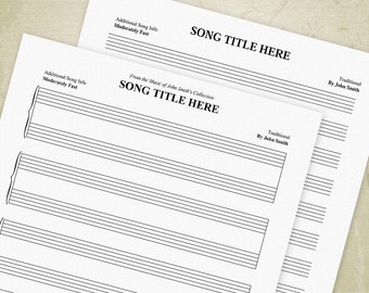 Music Staff Bar Charts Printable PDF, Manuscript Paper, Staves, Sheet Music - Editable Custom Templates, Digital File, Instant Download