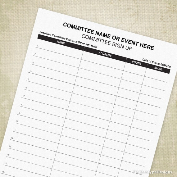committee sign up printable form volunteer signup sheet