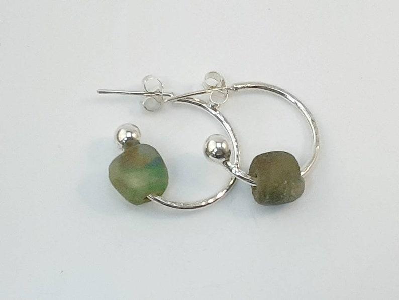 Long Earrings Beaded Earrings Blue Green Earrings Aquamarine Earrings Gold Hoops Hammered Metal Mixed Metal Earrings