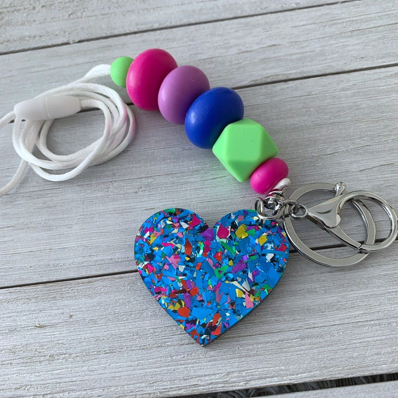 Blue Party Heart Lanyard Silicone Beads Acrylic