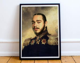 Post Malone Poster, Classical Painting, Regal art, General,  Hip Hop Poster, Post Malone Print, Post Malone, Rap Poster,
