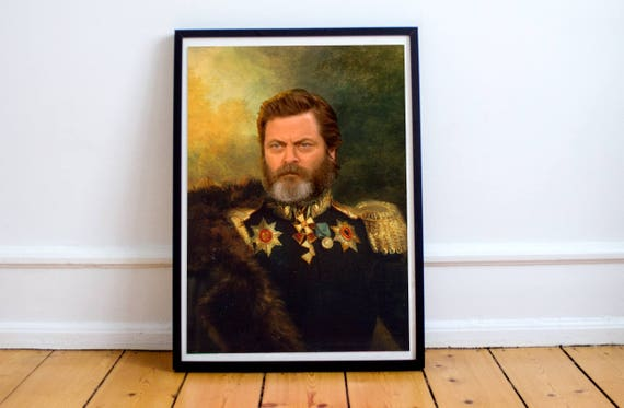 Nick Offerman Classical Painting Photoshop Poster Actor Comedian Parks