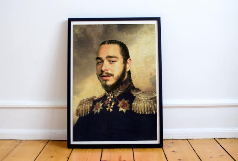 96049b6b0aca Post Malone Poster, Classical Painting, Regal art, General, Hip Hop Poster,  Post Malone Print, Post Malone, Rap Poster,